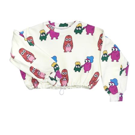 KIDS Banana Valentine Bleep Blops Crop Sweatshirt - white