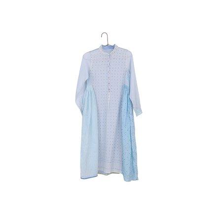 Injiri Pieced Long Sleeve Maxi Dress - Blue