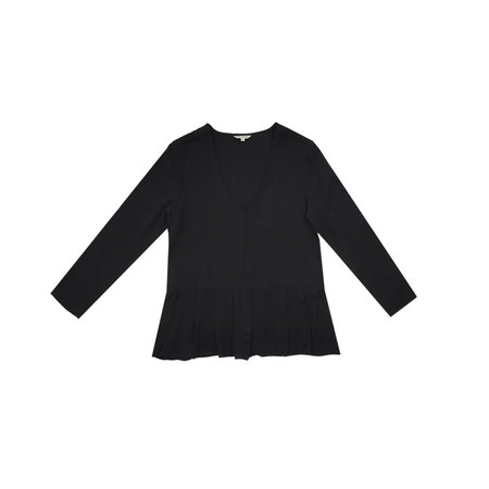 Ali Golden FRONT-PLEAT TOP - BLACK