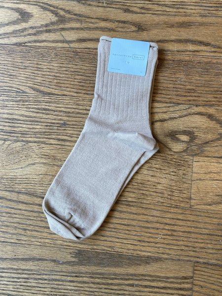 Hansel from Basel Superfine Cashmere Roll Top Short Crew Socks - Ivory