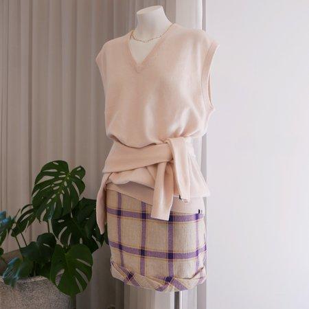 Rejina Pyo Cecilie Linen Skirt - Purple Checks