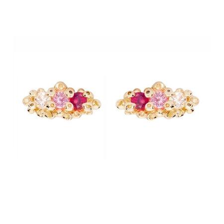 Ruta Reifen Triple Sapphire Studs - Pink Sapphires