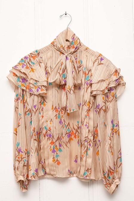 Vintage Linda Blouse and Skirt Set - Floral Cream