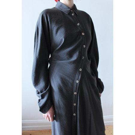 Lorod Twisted Shirt Dress - Washed Black