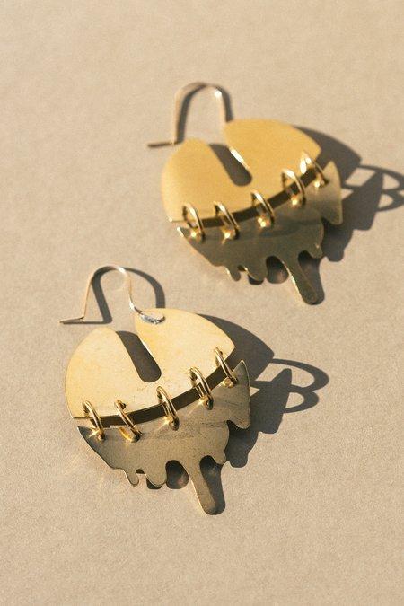 Vittrock Fractured Slime Earrings - Brass