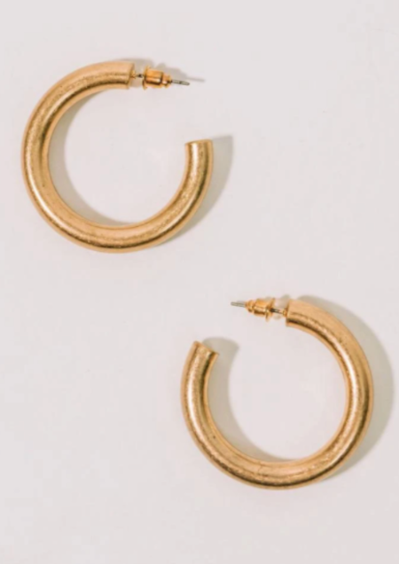 Half United Port-au-Prince Hoops - 14k gold-plated brass