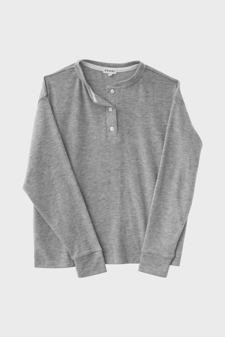 Donni. Henley Sweater - Heather Gray