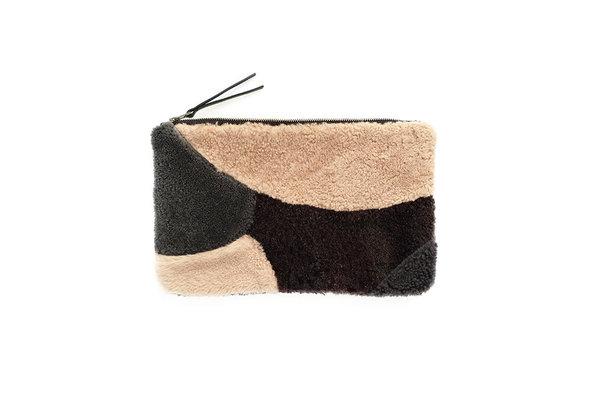 PURPLE BLOCKS PATCHWORK SHEEPSKIN CLUTCH