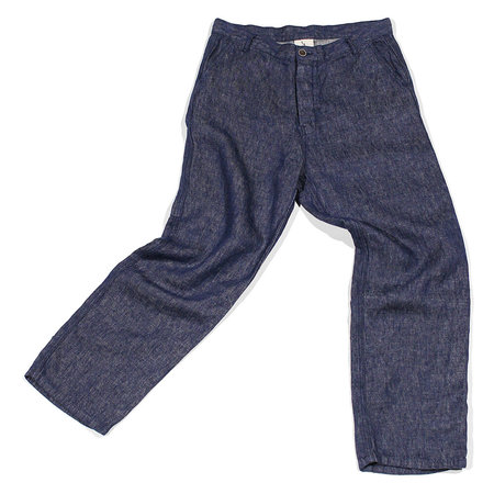 Ichi Antiquités Linen Denim Pants - Navy