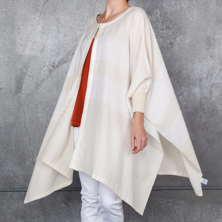 Apiece Apart Classic Cotton Poncho in Cream