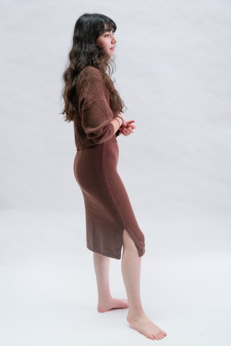 Raised By Water Knit Skirt - Chocolate