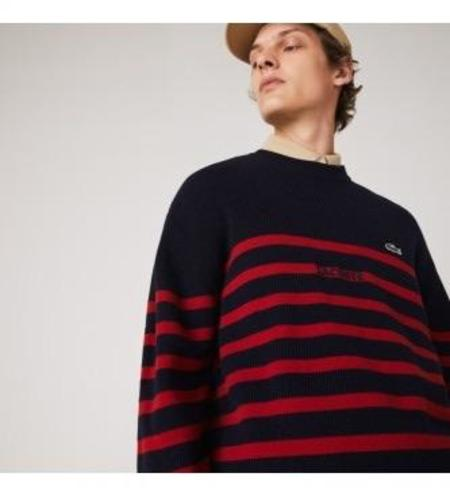 Lacoste Striped AH2006 Pullover - Blue/Red
