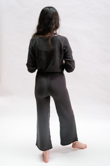Raised By Water Wide Leg Knit Pants - Charcoal
