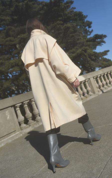 Vintage Wool Gabardine Coat - Pale Nude-Pink