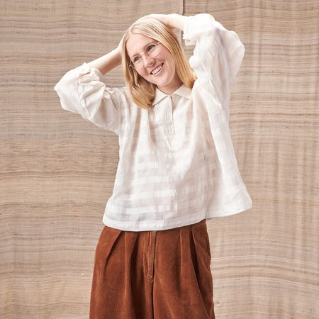 Story Mfg Amber Smock Top in Sheer Checked Organic Cotton