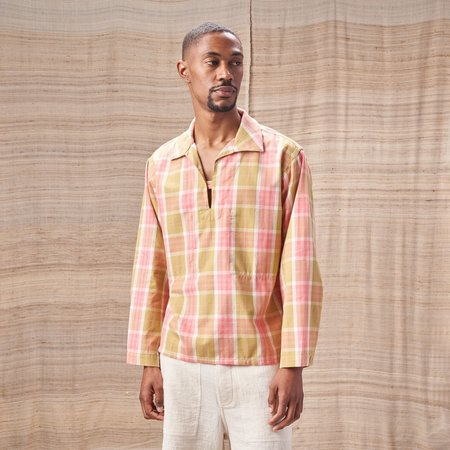 Story Mfg Organic Cotton Smoke Top - Plant-Dyed Pink/Green Checked