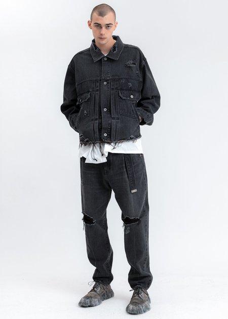 Doublet Damaged Silk Denim Jacket - black
