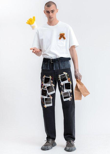 Doublet Fringe Embroidery Belt - black
