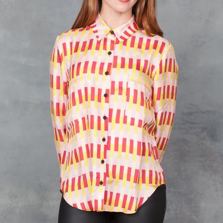 Dusen Dusen Silk Collared Shirt in Verticle Bricks