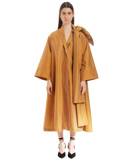 Bernadette Trench Coat with Christian Bow - Cognac