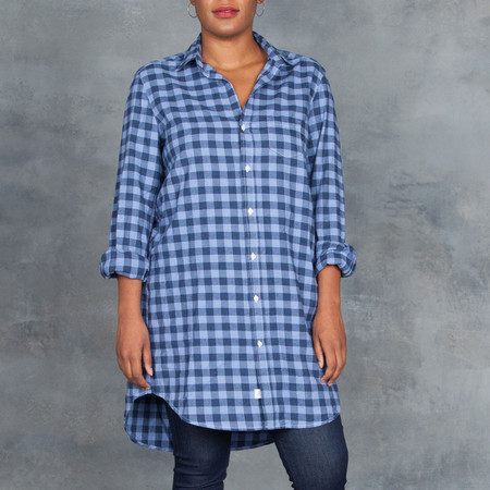 Frank and Eileen Mary Sky Blue Navy Check Flannel