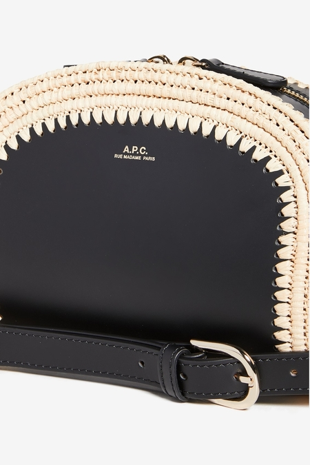 A.P.C. Sac Demi Lune Mini - Raffia Black