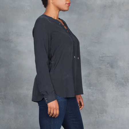 GOSILK Go Lace Up Blouse in Washed Black