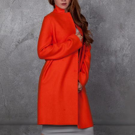 Harris Wharf London Cocoon Coat Pressed Wool Orange