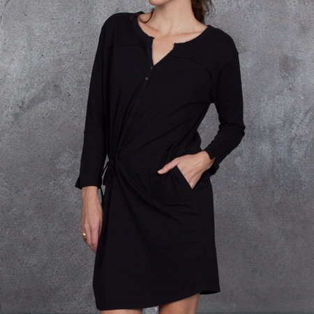 Humanoid Peach Dress Henley Dress in Black