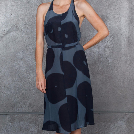 Humanoid Slak Print Dress Indigo Printed Silk Racer Back Dress