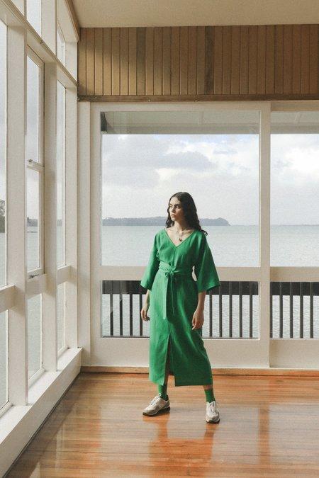 OVNA OVICH Gloria Dress - Emerald Tencel Linen