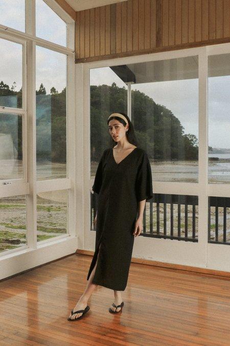 OVNA OVICH Gloria Dress - Midnight Black Tencel Linen