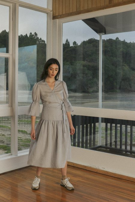 OVNA OVICH Obira Wrap Dress - Hazy Blue Tencel Linen