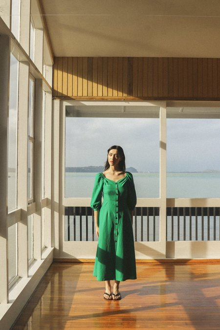 OVNA OVICH Virginia Dress - Emerald Tencel Linen