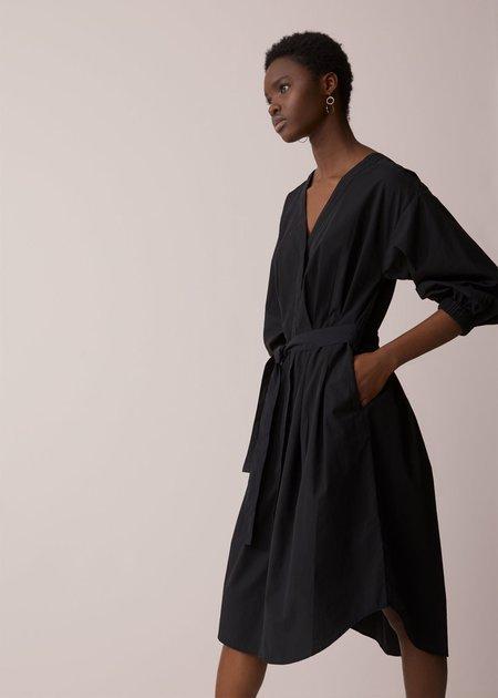Closed Poplin Shirt Dress - black