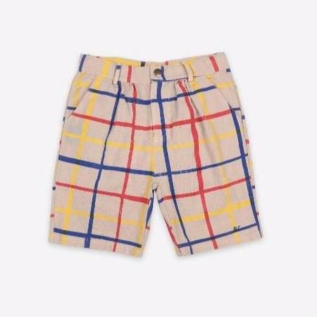 kids bobo choses multicolor checkered bermuda shorts - tan
