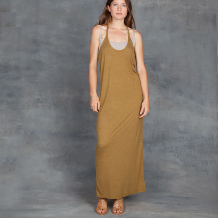 IRO Armenie Jersey Long Tank Dress in Olive Green