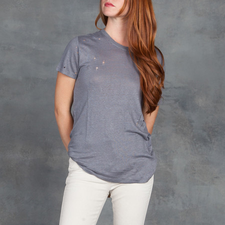 IRO Coal Tee Shirt with Deconstructed Holes in Grey