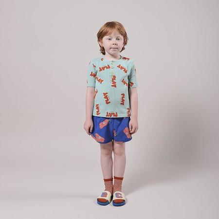 Kids Bobo Choses Henley T-shirt With All Over Play Print - Green