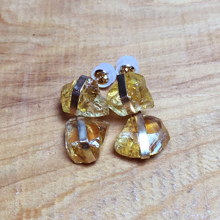 Melissa Joy Manning Raw Citrine Earrings