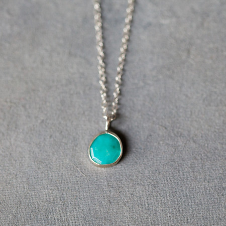 Melissa Joy Manning Sterling Silver Turquoise Pendant Necklace