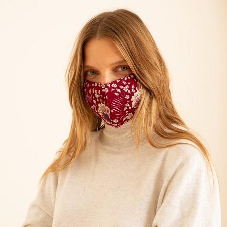 Natalie Martin pack of 3 Face Mask - Vintage Flowers Red