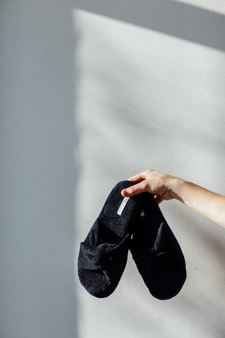 Skin Terry Velour Slides - black