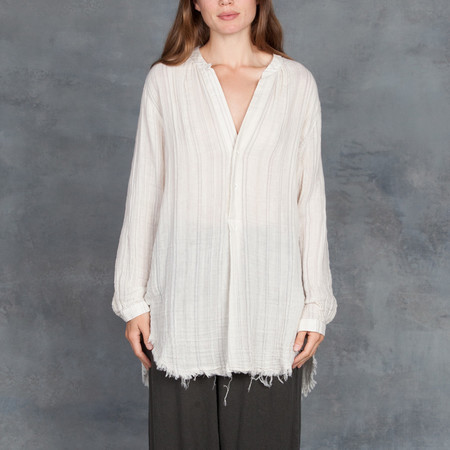 Raquel Allegra Cotton Gauze Henley Shirt in Natural Stripe