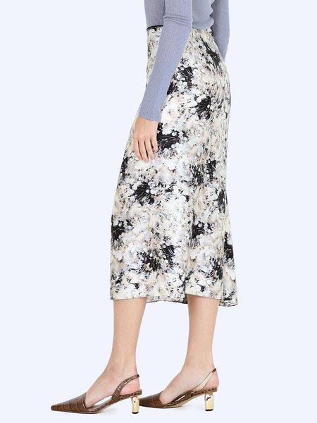 Vince Painted Crema Slip Skirt - Black/Cream