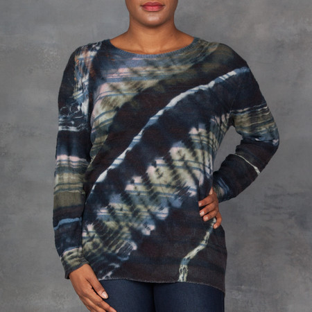 Raquel Allegra Wool Cashmere Tie Dye Sweater in Watermelon