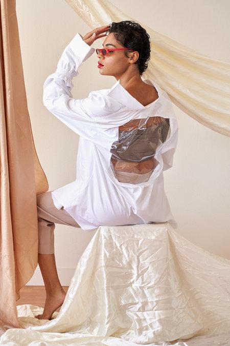 Laurs Kemp Upcycled Vinyl Window Shirt - White