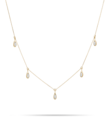 Adina Reyter Pave Water Drop Chain Necklace - Yellow Gold