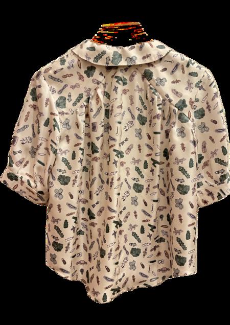 Christine Alcalay Pleated Silk Short Sleeve Blouse - Barrettes