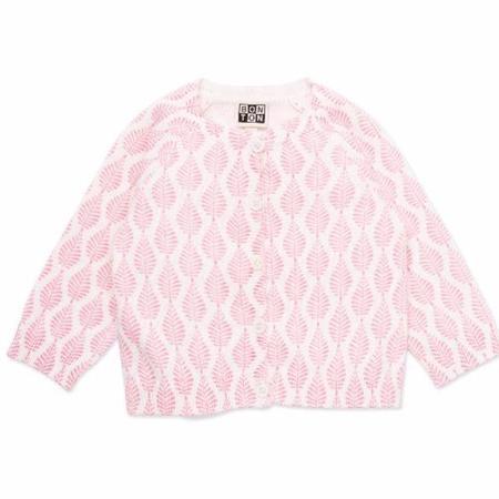 kids bonton leaves baby cardigan - pink